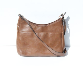 VOYAGER SAC - Faux Leather Purse | Vintage Leather Bag | Casual Purse | Vintage Leather Satchel| Medium Bag | Brown Bag | Brown Purse