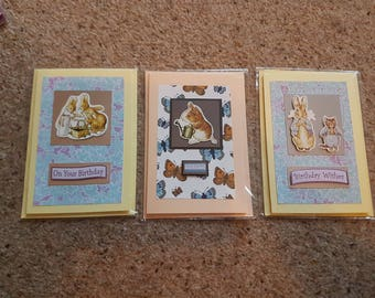 Pack of 3 Beatrix Potter themed birthday / all occassion cards