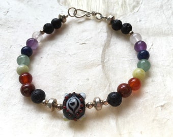 Black Eye Bead and Seven Chakra Aromatherapy Bracelet