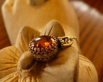 Beautiful  Natural Polish Amber and Sterling Silver Spin Necklace