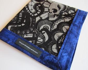 EDC Hank Gray and Blue with Skulls Handmade Hank Everyday Carry Hank Men's Handkerchief Women's Handkerchief Skull Hank