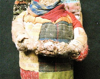 "Angel OOAK Primitive Folk Art Prairie Angel- ""SPRING ETERNAL""-Handcrafted from Vintage Quilt w/Handmade Nest"