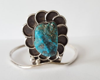 Vintage Southwest Turquoise Silver Cuff Bracelet, Large Turquoise Stone, Stamped, 19g