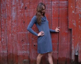 Cowl Dress - Organic Cotton Tunic - Long Sleeve Dress - Custom Made Dress - Yana Dee - Made in the USA