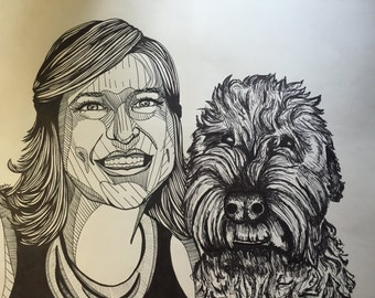 """11""""X14"""" Custom Person and Pet Drawing"""