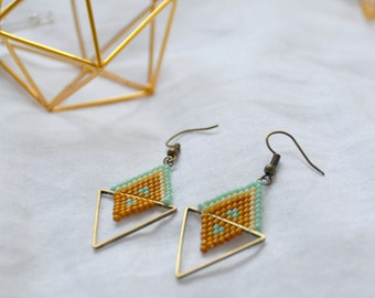 Beads Miyuki - geometric triangles earrings turquoise blue and mustard yellow