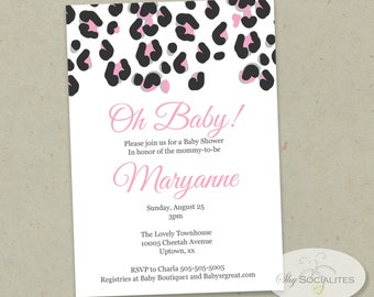 Cheetah Print Invitation | Black and Pink, Leopard Print, Animal Print, Wild, Any Occasion | INSTANT DOWNLOAD | Editable Text PDF