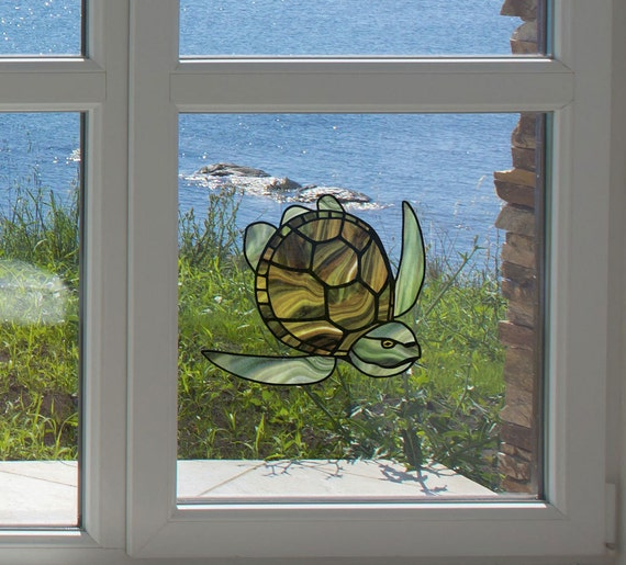 25 Modern Ideas To Use Stained Glass Designs For Home: CLR:WND Honu Sea Turtle Stained Glass Style Vinyl Window