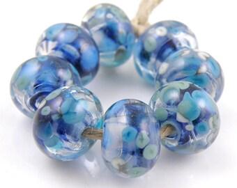 Moonlight Sonata SRA Lampwork Handmade Artisan Glass Donut/Round Beads Made to Order Set of 8 8x12mm