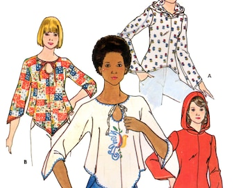 70s Butterick 4203 Boho Tops with Optional Hood, Shaped Hemline and Sleeve Edge Variations, Uncut, Vintage Sewing Pattern Size 16