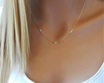 Opal Necklace • White Opals • Blue Beaded Opal Necklace • Dainty Gold Necklace • Minimal Necklace • Girlfriend Gift for Her