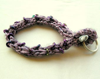 Personalize Keys ~ Bracelet Keychain ~ Beaded Knitting PDF Knitting Pattern ~ Stretchy Wristlet ~ Knit Keyring
