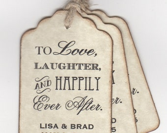 50 CUSTOM Personalized Wedding Favor Tags Shower Favor Tags To Love Laughter And Happily Ever After - Vintage Style
