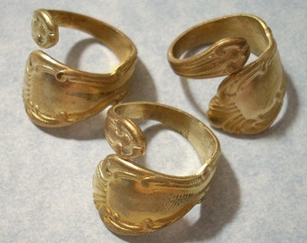 3 Adjustable Raw Brass Spoon Rings