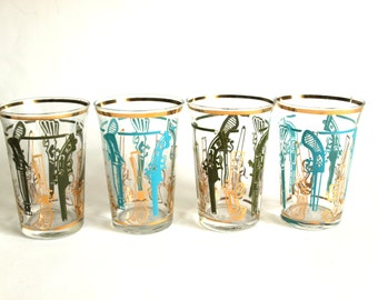Vintage Mid Century Gold & Turquoise Flintlock Style Pistol Glasses - 50s Smith and Wesson Rifle Glasses - Set of Four