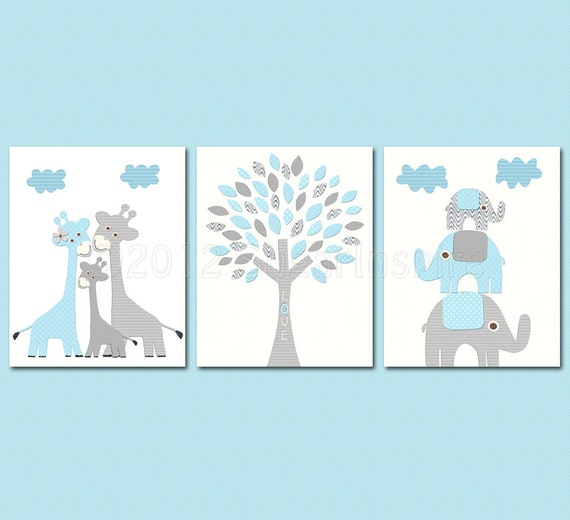 Blue And Grey Kids Room: Baby Blue And Grey Nursery Art Print Set 8x10 Kids Room