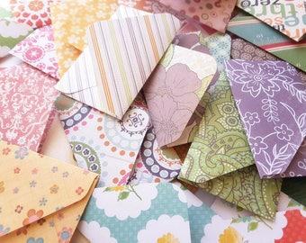 "2"" x 3.5"" Tiny Envelopes/ Card Envelopes/ Pattern Envelopes/ Blank Stationery/ Assorted Patterns in Various colors/ Set of 20"