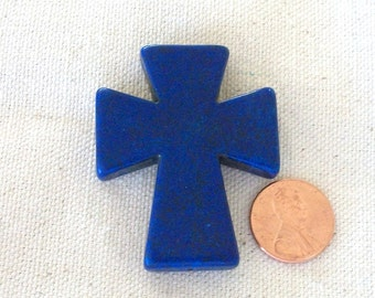 Cross Cobalt Blue Howlite Stone Large Pendant, Backpack, Keychain, Frames, Purse Charm, Jewelry Supply