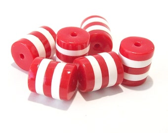 Red and White Striped Beads Handmade from Polymer Clay