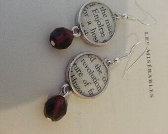 Les Miserables Enjolras Revolution Book Page Earrings