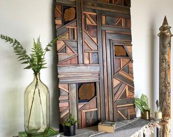 Nazca // mosaic wood art //  wood assemblage