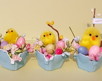 Easter hostess gift etsy adorable baby chick easter decor decoration spring hostess gift handmade egg floral negle Images