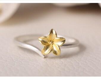 sterling silver flower ring, flower ring, gold flower ring