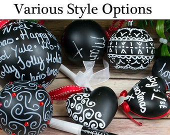 Decorate Your Own Blackboard Baubles Christmas Ornaments | Christmas Ornaments to Decorate