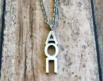 Alpha Omicron Pi Letter Necklace | Sorority Necklace | Sorority Lavalier | Alpha Omicron Pi Lavalier | Alpha Omicron Pi Necklace | AOPi