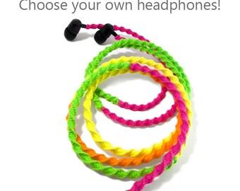 Macrame Wrapped Headphones | Custom Tangle Free 80's Neon Rainbow Earbuds | Android Earphones, Apple iPhone 8, iPad Earpods | Teen Tech Gift