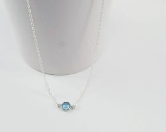 Aquamarine Birthstone Necklace, Aquamarine Jewelry, March Birthstone Necklace, Aquamarine Crystal Necklace, Dainty Crystal Choker