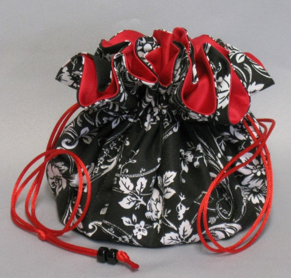 Jewelry Drawstring Travel Tote---Eight Pocket Organizer Pouch---Black & White Floral Damask Design---Large Size