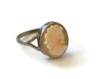 Mid Century Sterling Silver Hand Carved Shell Cameo Ring, Vintage Cameo Ring