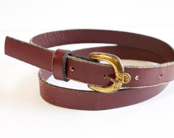 Vintage Leather Belt - Women's burgundy leather belt by Etienne Aigner  - Burgundy skinny Leather Belt