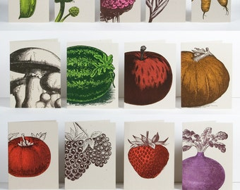 HUGE CARD SET Letterpress Cards 18 designs, Farmers Market, Thank You Notes, gifts for cooks, wedding gifts, fruit cards, vegetable cards