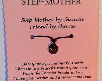 Step-Mother Gift, Mothers day gift, Friendship Bracelet, Cord Wish Bracelet, Keepsake Card, Step-Mother birthday, Step-Mum gift