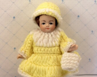 Miniature Bisque Doll Yellow Crochet Dress Hat Purse Hand Painted  5 inches w Stand