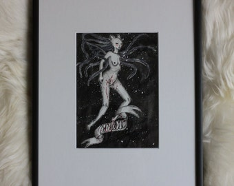 The Cat, Original Drawing, framed