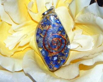 BROW CHAKRA Orgone pendant - Handcrafted gemstone Reiki Crystal Necklace - Lapis Lazuli Sodalite copper
