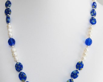 Pearl, Blue Millefiori and Faceted Round Glass Bead Necklace