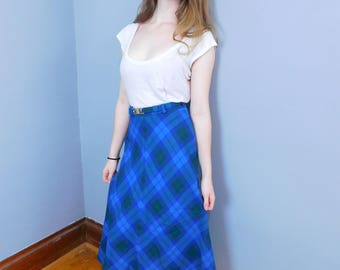 Vintage Plaid Wool A-Line Maxi Skirt by Aljean of Canada Size XS