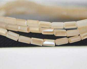 """Square Tube/ Long Cube Crystal Glass Faceted Stick Beads 6mm White Gold (TS63-9)/ 17"""" strand"""