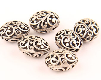 Silver Plated Oval Curly Fretwork Beads, 6 pieces // SB-057
