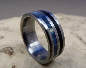 Titanium Ring, Wood Ring, Wedding Ring, Blue Ring, Ebony Ring, Mens Ring, Womens Ring, Custom Made Ring, Engagement Ring, Mens Wedding Ring