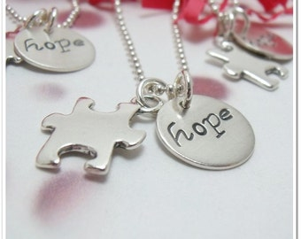 Personalized Puzzle Piece Necklace with Hope Charm - Autism Awareness Jewelry - Personalized Necklace - Hand Stamped Jewelry