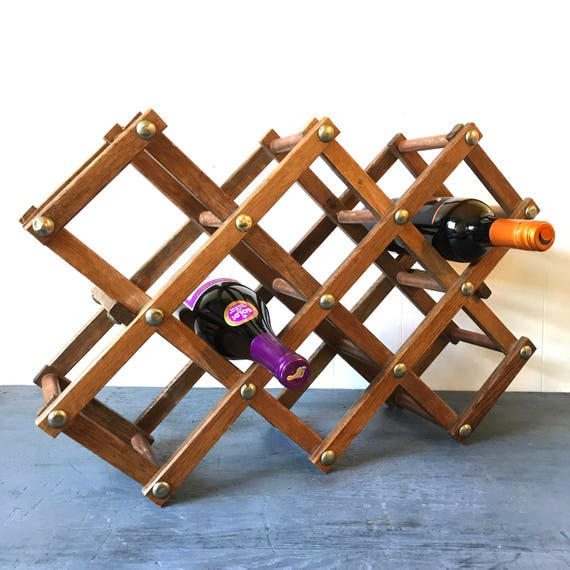 vintage wooden wine rack - folding wine storage - brown barware bottle storage