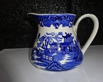 "Vintage Burleigh Ware ""Willow"" Large Creamer/Milk Jug/Blue Transferware/Blue and White/Creamers/Jug/Pitcher/Willow/Blue Willow/Vintage/1930s"