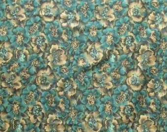 Forest and Olive Green Flowers Quilter's Weight Cotton Print Fabric - One Yard