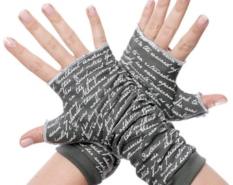 Sense and Sensibility Writing Gloves - Fingerless Gloves, Arm Warmers, Jane Austen, Literary, Book Lover, Books, Reading