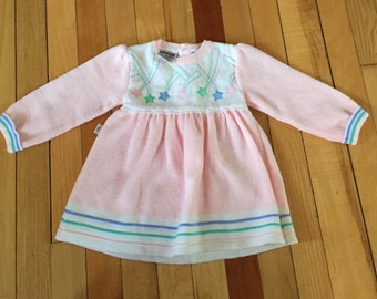 Vintage 1980s Baby Infant Girls Pink Stars Embroidered Dress! Size 12 months